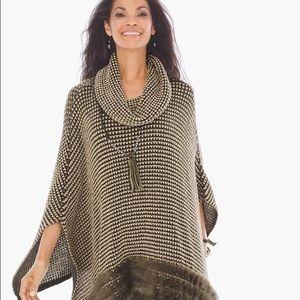 Chico's faux fur trimmed poncho metallic knit NWT